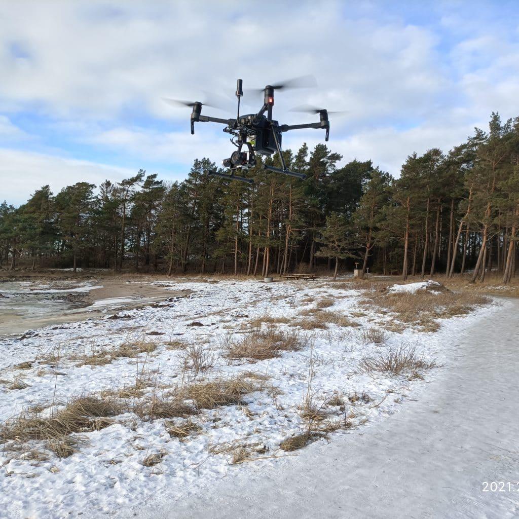 SeaBee drone taking off to capture images of Danmarkbukta. NIVA 2021.