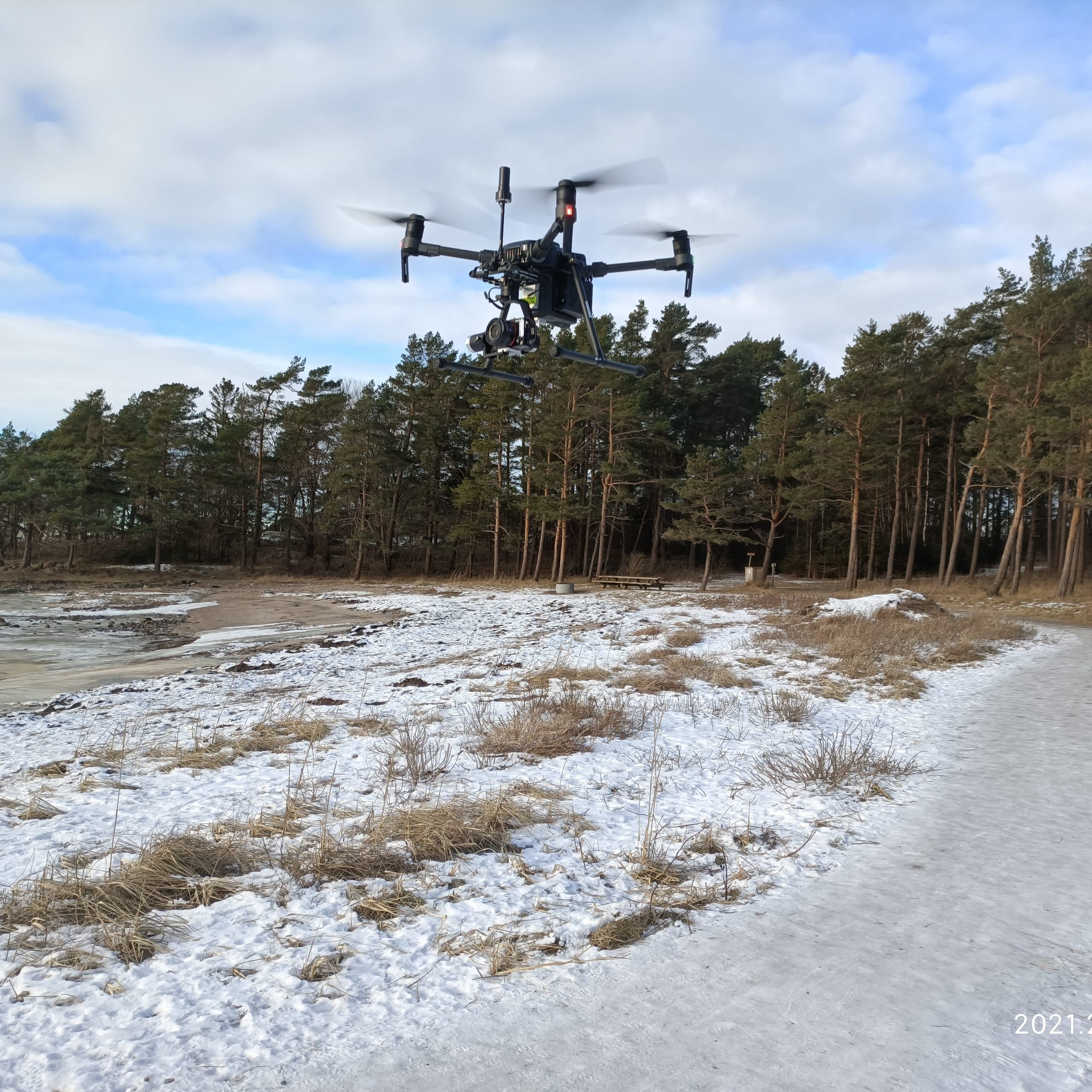 SeaBee drone taking off to capture images of Danmarkbukta. NIVA 2021.